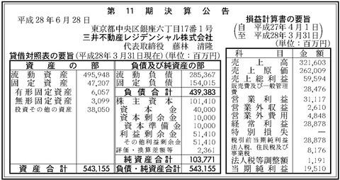 三井不動産レジデンシャル決算