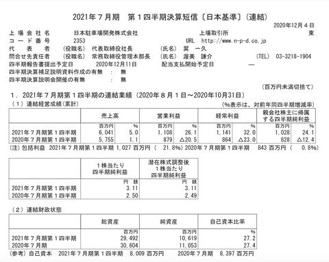 日本駐車場開発 2021年7月期第1四半期決算