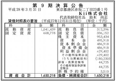 Kii株式会社決算
