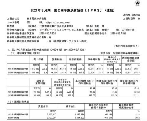 NEC 2021年3月期第2四半期決算