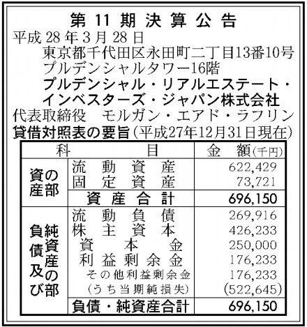 プルデンシャル・リアルエステート・インベスターズ・ジャパン決算