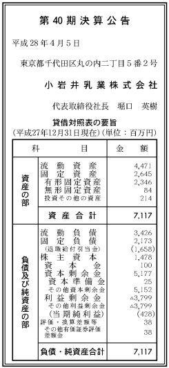 小岩井乳業_業績