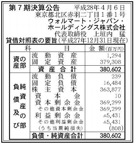 ウォルマート・ジャパン・ホールディング決算
