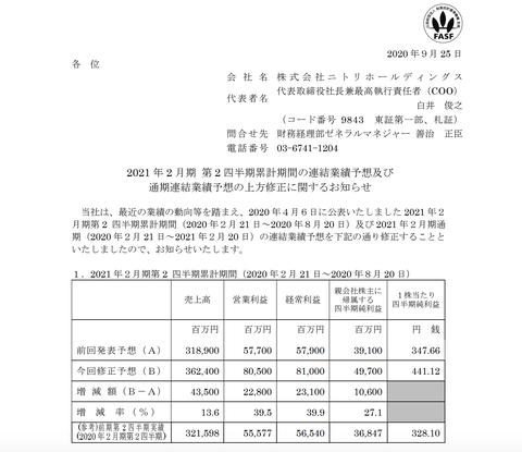 ニトリHD  2021年2月期通期決算予想を上方修正