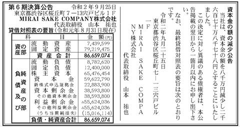 MIRAI SAKE COMPANY 決算公告(第6期)