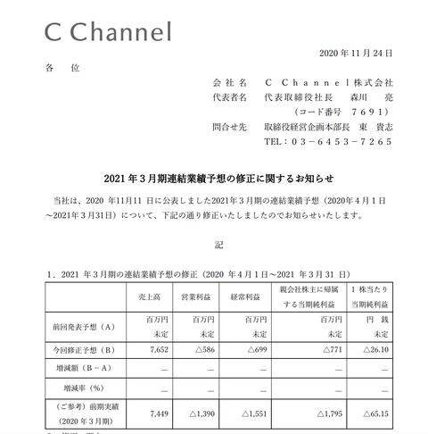 C Channelが2021年3月期通期の決算予想を発表