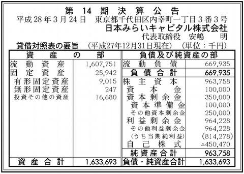 日本みらいキャピタル決算