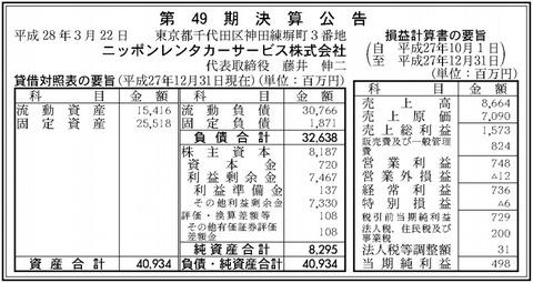 ニッポンレンタカーサービス_決算