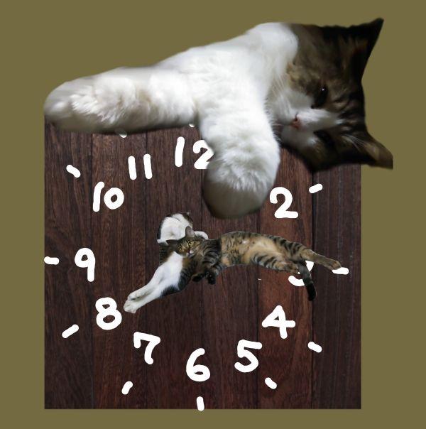 猫時計セピア