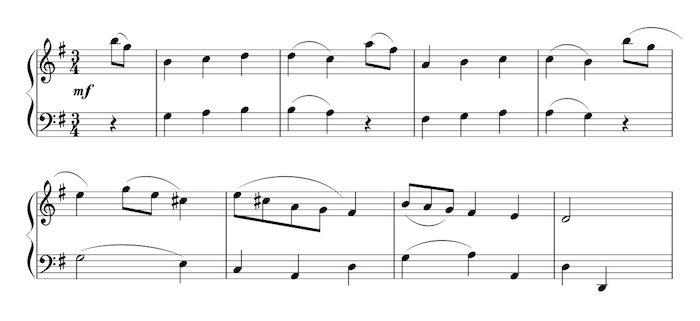 ピアノ譜面メヌエット