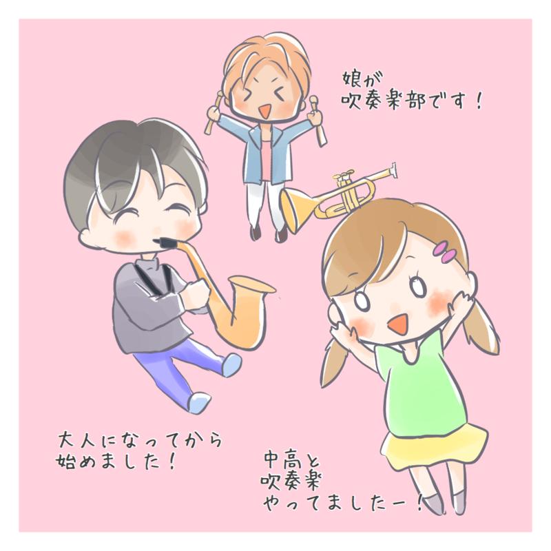 吹奏楽団のメンバーのイラスト
