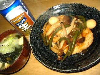鶏ひき肉のあんかけバーグ