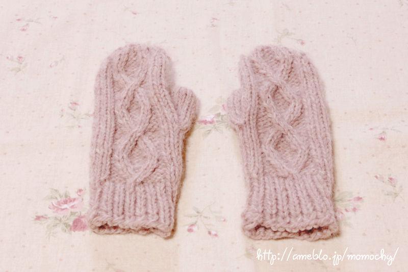 棒針編み*もういっちょ毛糸のミトン