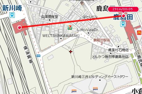 新川崎〜鹿島田(最短距離)