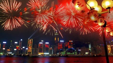 140131ビクトリア湾の花火@中国 香港