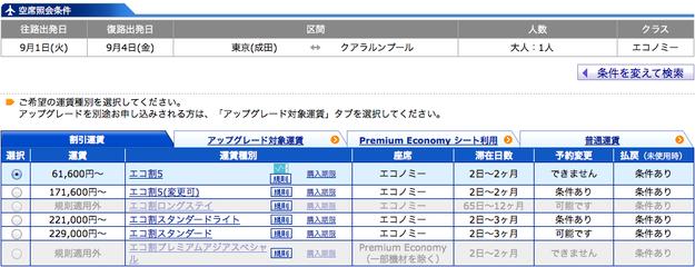 ANA成田〜クアラルンプール@ANAマイルの貯め方