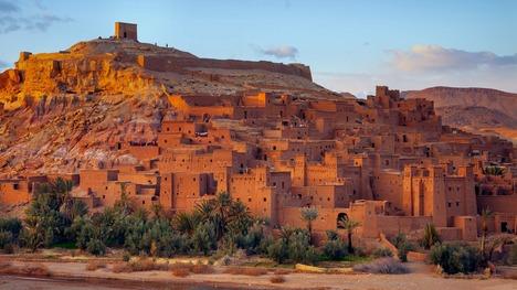 141110夕日に照らされた砂上都市@モロッコ ワルザザート