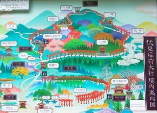 京都・伏見稲荷大社・稲荷山の地図(MAP)