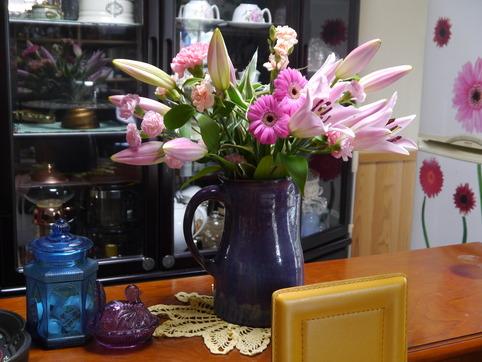 仕事場の花束