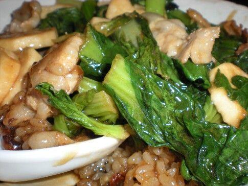 ターツァイ&山芋の中華丼