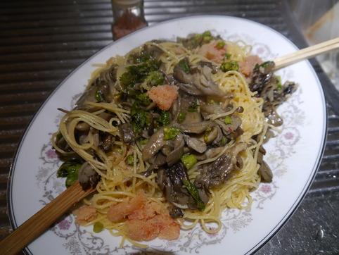 ふきのとう&舞茸&たらこスパゲティ