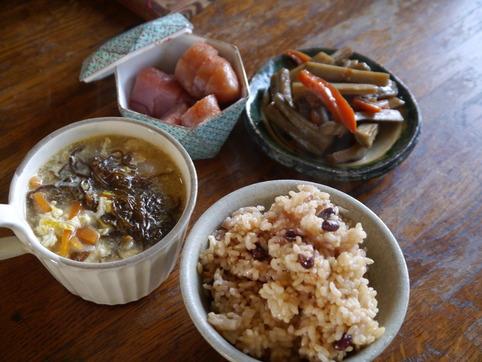 もずくスープ&小豆玄米ご飯