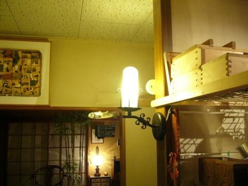 台所の柱灯り