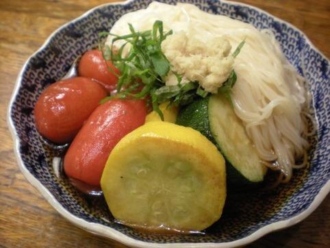 浸し野菜素麺