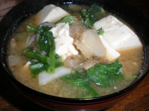 蕪の葉・キクイモ・豆腐
