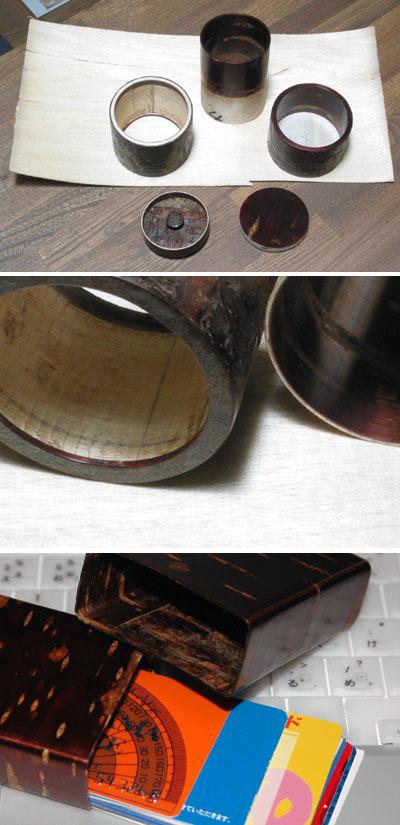 樺細工の茶筒とたばこ入れ
