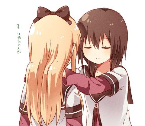 《ゆるゆり》なもり先生が描いた京子の首を触る結衣ちゃんいいな