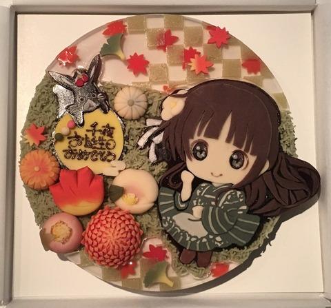 《ごちうさ》公式が2017年の千夜ちゃんのお誕生日を全て和菓子で作ったケーキでお祝いしているぞ
