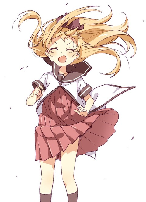 《ゆるゆり》なもり先生が描いた強風を楽しんでる歳納京子ちゃん