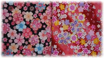 和風な花柄プリントの木綿地