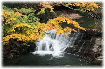 川のせせらぎを聞きながら紅葉狩り