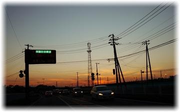 走ってる途中で夕焼け空がキレイ