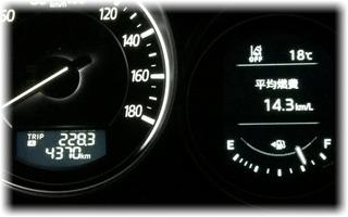 17:13、平均燃費/14.3km