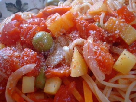オリーブ入りスパゲティ