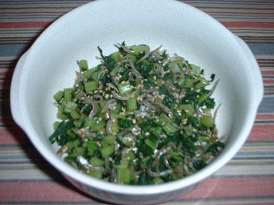 大根葉とかえりの炒め物