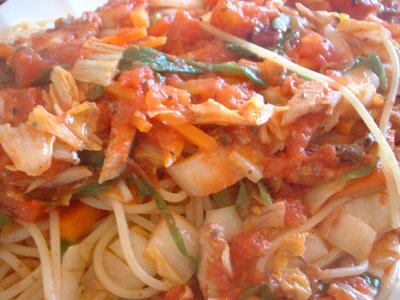 鰯と白菜のトマトソースアップ