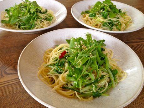 ルッコラと水菜のパスタ