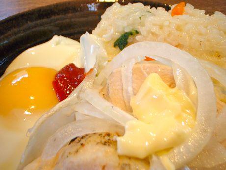 リゾット&鶏はむ&目玉焼き
