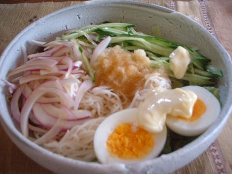 ぶっかけ素麺/胡瓜、紫玉葱、大根おろし、ゆで卵