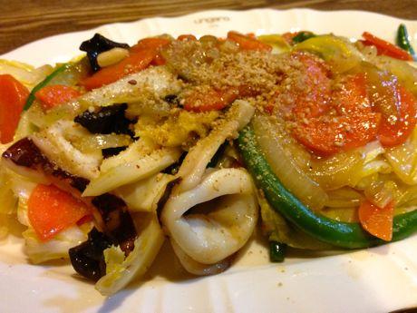 ヤリイカと野菜の中華炒め