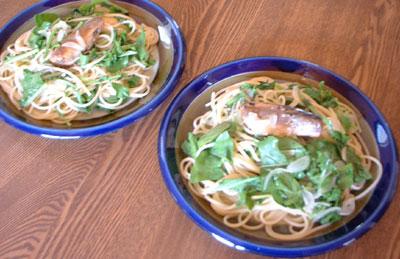 イワシとルッコラのスパゲティ