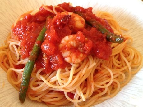 海老とインゲンのトマトパスタ