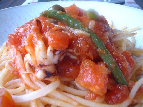 ヤリイカとモヤシのトマトソース