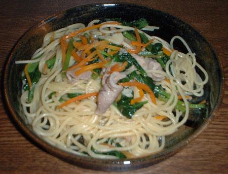 豚肉と小松菜のスパゲティ