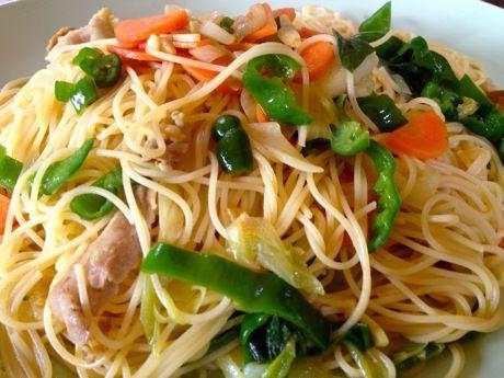 豚肉と野菜のカレーパスタ