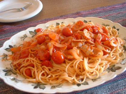 ミニトマトのパスタ